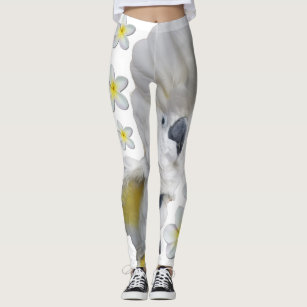 ccf646dd29f9d Lala the Cockatoo Leggings Crest Up with Plumerias