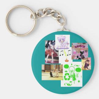 lalalalaaaaa copy, rock rocks, anime-girl, Awes... Basic Round Button Keychain