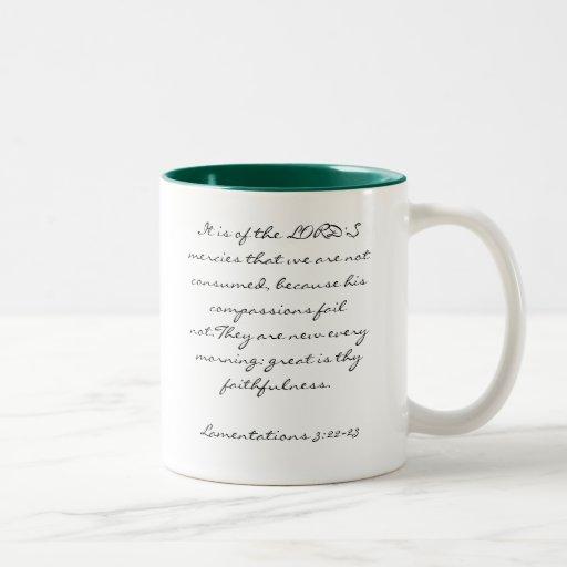 Lam 3:22-23 Two-Tone coffee mug