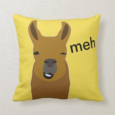 Beach Themed Lama Funny Face Throw Pillow