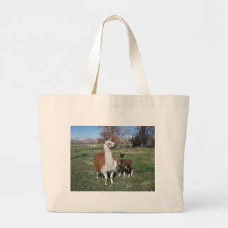 Lama Mama and Llama Baby Large Tote Bag