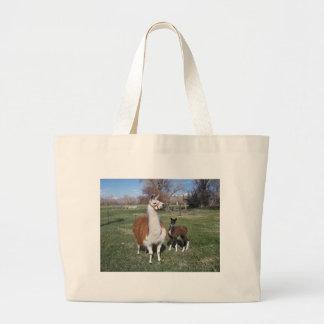 Lama Mama and Llama Baby Large Tote Bag