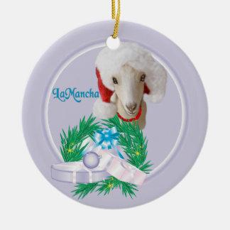 LaMancha Goat in Santa Hat  Wreath Holiday Ornamen Double-Sided Ceramic Round Christmas Ornament