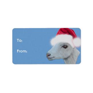 LaMancha Goat  Santa Goat Christmas Gift Tag Custom Address Labels