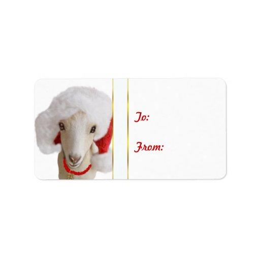 LaMancha Santa Hat Goat Christmas Gift Tag Sticker Label