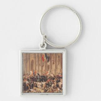 Lamartine rechaza la bandera roja en 1848 llavero cuadrado plateado