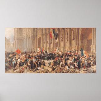 Lamartine rechaza la bandera roja en 1848 póster