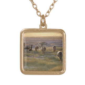 Lamas in the Sunset Gold Plated Necklace
