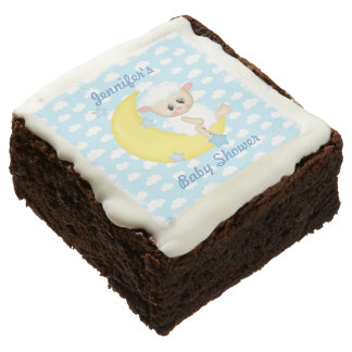 Lamb and Moon Baby Shower Chocolate Brownie