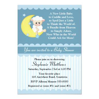 Lamb and Moon Baby Shower 5x7 Paper Invitation Card
