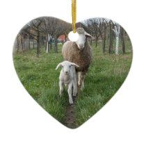 Lamb and sheep ceramic ornament