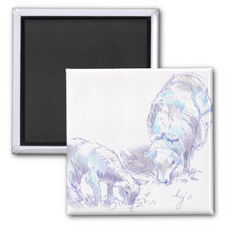 Lamb and Sheep Grazing pencil and pen drawing 2 Inch Square Magnet