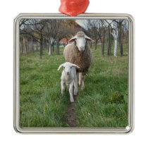 Lamb and sheep metal ornament