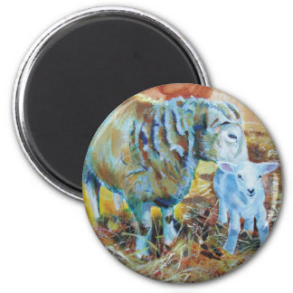 Lamb and sheep painting 2 inch round magnet