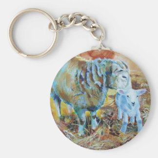 Lamb and sheep painting basic round button keychain
