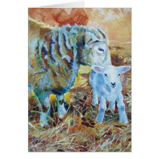 Lamb and sheep painting greeting card