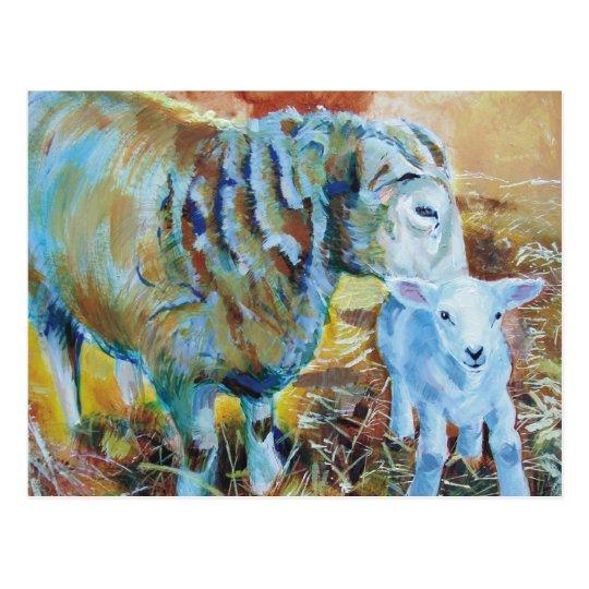 Lamb and sheep painting postcard