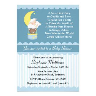 Lamb and Teddy Bear Baby Shower Custom Invites