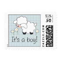 Lamb Baby Boy Shower Announcement Postage Stamps