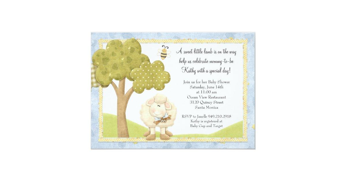 lamb baby shower invitation zazzle