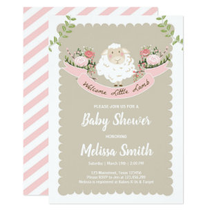 Spring baby shower invitations zazzle lamb baby shower invitation girl pink spring filmwisefo