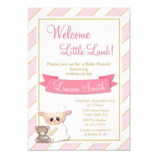 Lamb Baby Shower Invitation Pink Baby Girl Lamb