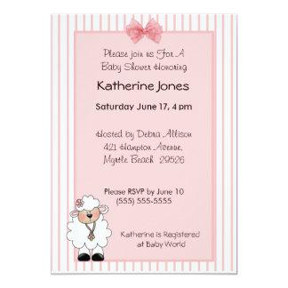 "Lamb Baby Shower Invitations 5"" X 7"" Invitation Card"