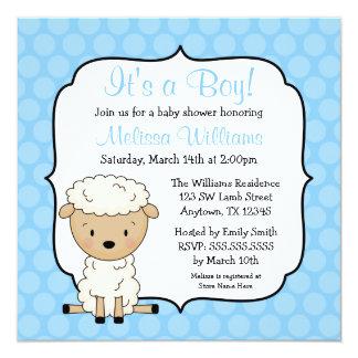 "Lamb Blue Dots Boy Baby Shower Invitations 5.25"" Square Invitation Card"