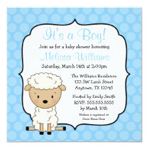 Lamb Blue Dots Boy Baby Shower Invitations