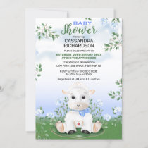 Lamb Blue Floral Boy Baby Shower Invitation