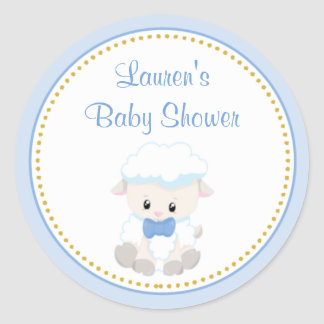 Lamb Boy Baby Shower Favor Stickers