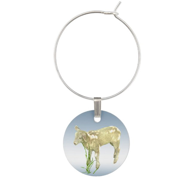Lamb Eating Grass with Blue Sky Wine Charm