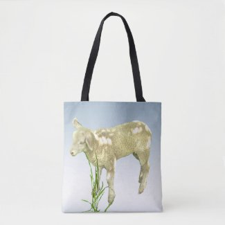 Lamb Eating Green Grass Tote Bag