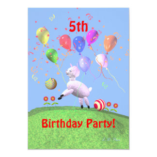 Lamb Fifth Birthday Party for Kids Card