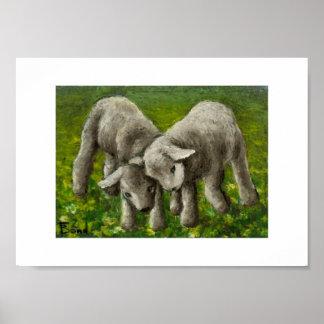 Lamb fight print
