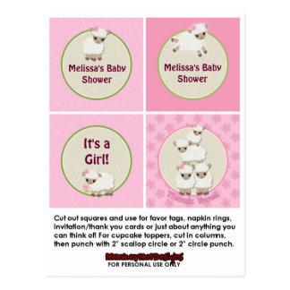 LAMB Girl Baby Shower Cupcake Topper Sweet Dreams Postcard