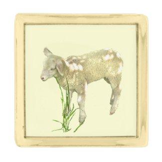Lamb Grazing in Grass Lapel Pin