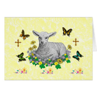 Lamb in flowers card