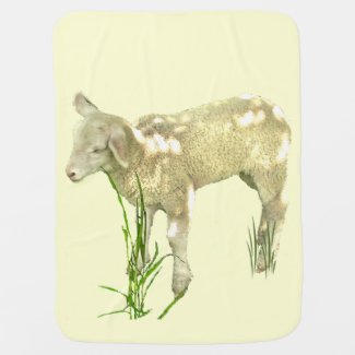 Lamb in Grass Baby Blanket