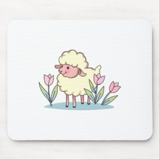 LAMB IN TULIPS MOUSE PAD