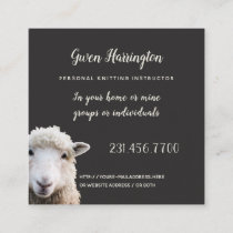 Lamb Knitting Instructor Square Business Card