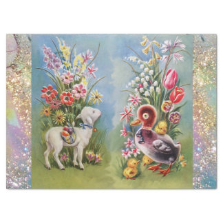 LAMB,LITTLE DUCK,CHICKENS,EASTER EGGS WITH FLOWERS TISSUE PAPER