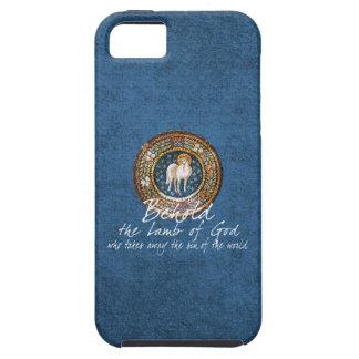 Lamb of God Byzantine Christian Icon on Blue iPhone 5 Case