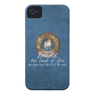 Lamb of God Byzantine Christian Icon on Blue iPhone 4 Case