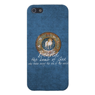 Lamb of God Byzantine Christian Icon on Blue Case For iPhone 5