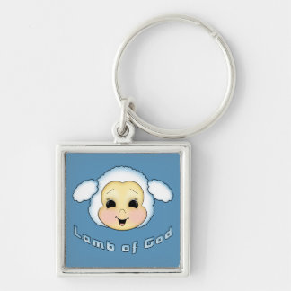 Lamb of God Silver-Colored Square Keychain
