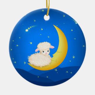Lamb on Moon Ceramic Ornament