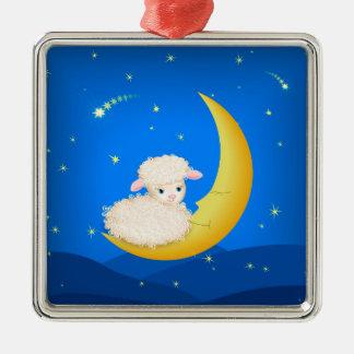 Lamb on Moon Metal Ornament