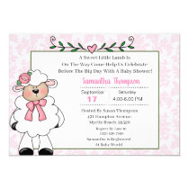Lamb Pink Baby Shower Invitations