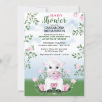 Lamb Pink Floral Baby Shower Invitation